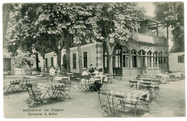 Hotel i restauracja, którą postawiono w miejscu, które zakupił Johan Adler. fot. J. Faltin, 1909. Ze zbiorów Muzeum Miasta Gdyni