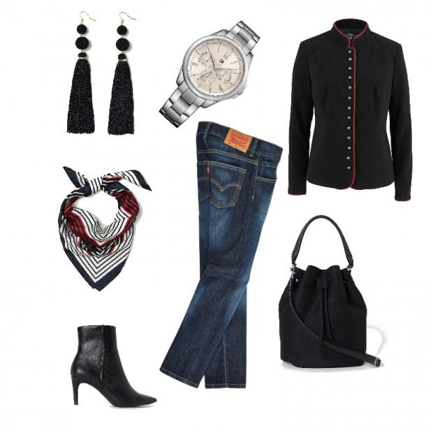 Kolczyki H&M, zegarek TH, żakiet Bonprix, apaszka H&M, botki H&M, spodnie Levi's, torebka H&M