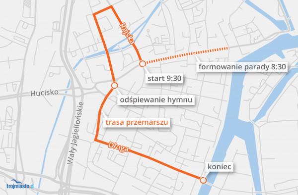 Trasa Parady Niepodległości 2018 w Gdańsku.
