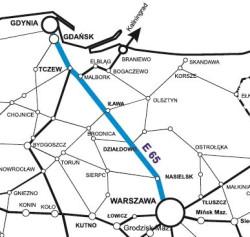 Przebudowywana linia kolejowe E 65 relacji Gdynia - Warszawa.