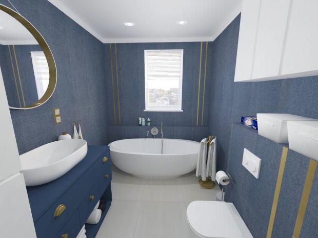 Koncepcja pierwsza. Ściany łazienki zostały obudowane niebieskimi płytkami o teksturze tkaniny.