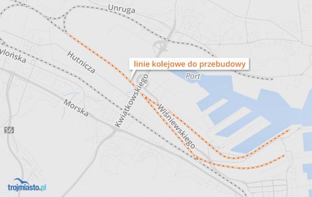 Plan przebudowy linii w Porcie Gdynia.