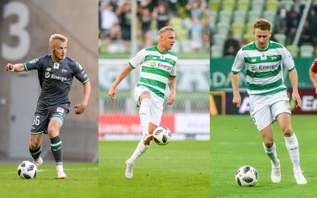 Trzech defensywnych piłkarzy Lechii zdobyło już w tym sezonie łącznie cztery gole w ekstraklasie i Pucharze Polski. Od lewej: Tomasz Makowski, Daniel Łukasik i Jarosław Kubicki.