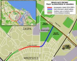 Przebieg brakującego odcinka Trasy Słowackiego (ul. Nowej Kościuszki), zaplanowanego do realizacji w latach 2014-2020.