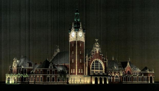 Tak po remoncie ma wyglądać dworzec w Gdańsku nocą.