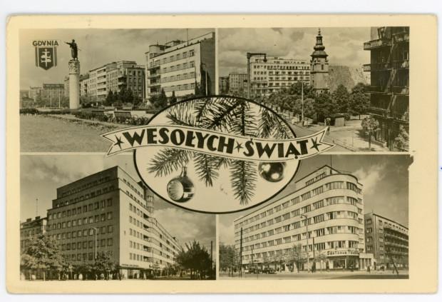 Pocztówka: Pocztówka świąteczna collage: widoki Gdyni: ul. 3 Maja, ul. 10 Lutego, skwer Kościuszki, 1953-1957