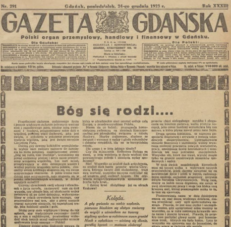 """Fragment strony tytułowej """"Gazety Gdańskiej"""" z 24 grudnia 1923 r. Za: Pomorska Biblioteka Cyfrowa."""