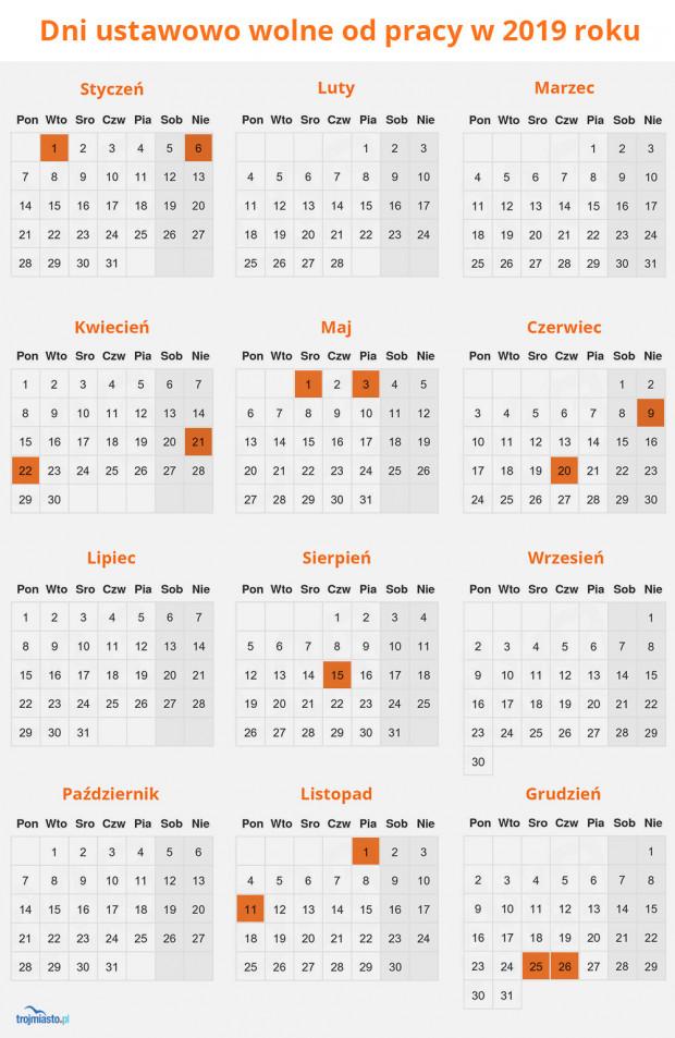 1 stycznia - Nowy Rok , 6 stycznia - Święto Trzech Króli, 21 i 22 kwietnia - Wielkanoc,  1 maja  - Święto Pracy, 3 maja - Święto Konstytucji 3 Maja, 9 czerwca - Zesłanie Ducha Świętego, 20 czerwca - Boże Ciało, 15 sierpnia - święto Wniebowzięcia Najświętszej Maryi Panny, 1 listopada - Wszystkich Świętych, 11 listopada - Święto Niepodległości, 25 i 26 grudnia - Boże Narodzenie