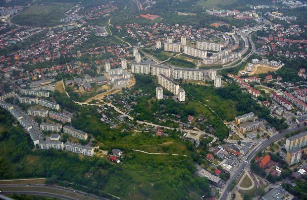 Dzielnica Suchanino widziana z lotu ptaka. Zdjęcie z 2012 roku.
