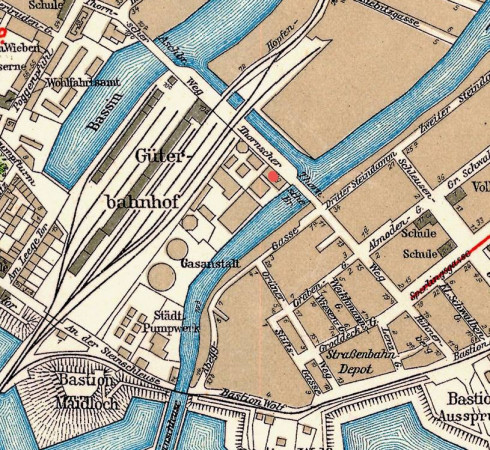Odkryty zbiornik (czerwony punkt) na fragmencie mapy z  1933 r. z z British Library, London.