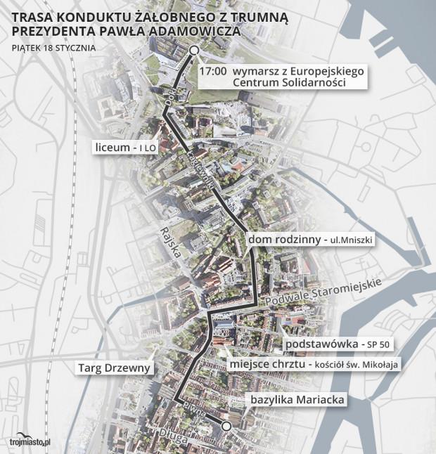 Trasa przebiegnie wokół miejsc, z którymi Paweł Adamowicz był zawiązany przez całe życie.