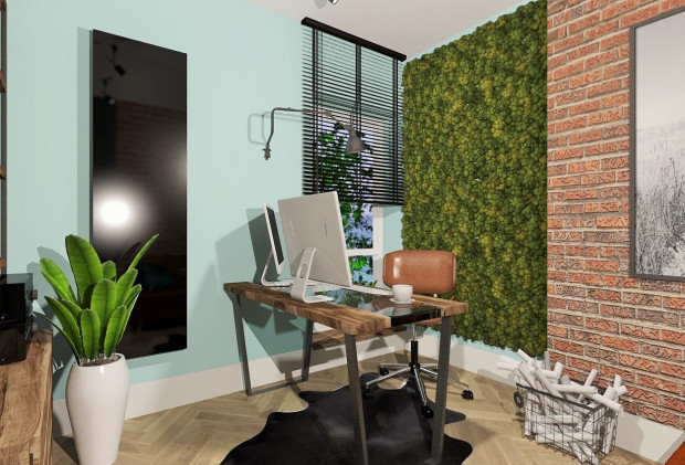 Zielona ściana w pomieszczeniu jest modna i wcale nie tak trudna w utrzymaniu. To niebanalny element, dzięki któremu w domowym biurze będziemy czas spędzać z chęcią.