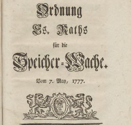 Rozkaz z 7 maja 1777 roku, określający obowiązki Warty Spichrzowej w Gdańsku.