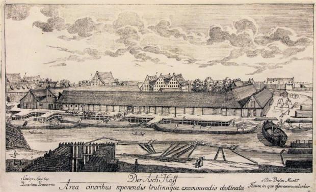 Dwór Popielny na Wyspie Spichrzów. Rycina Matthaeusa Deischa 1761-1765