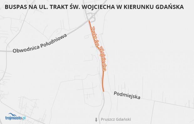 Buspas na Trakcie św. Wojciecha ma się zaczynać na granicy Gdańska i Pruszcza Gdańskiego i ciągnąć do węzła Lipce.