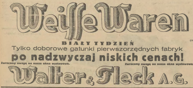 """Reklama """"Białego Tygodnia"""" Domu Handlowego Walter&Fleck  w polskiej prasie, 1929 r. Ze zbiorów PAN Biblioteki Gdańskiej."""