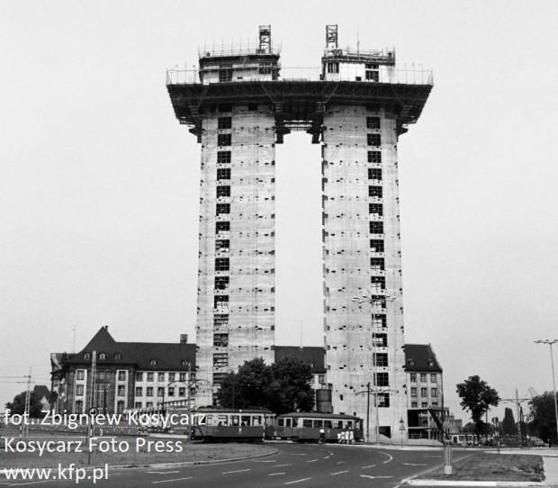 Budowa biurowca Zieleniak. Sierpień 1967 roku.
