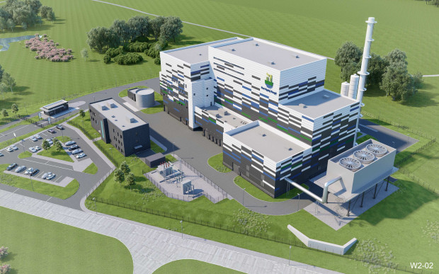 Wizualizacja prezentująca spalarnię, która ma powstać na terenie Zakładu Utylizacyjnego w Szadółkach do 2022 roku.