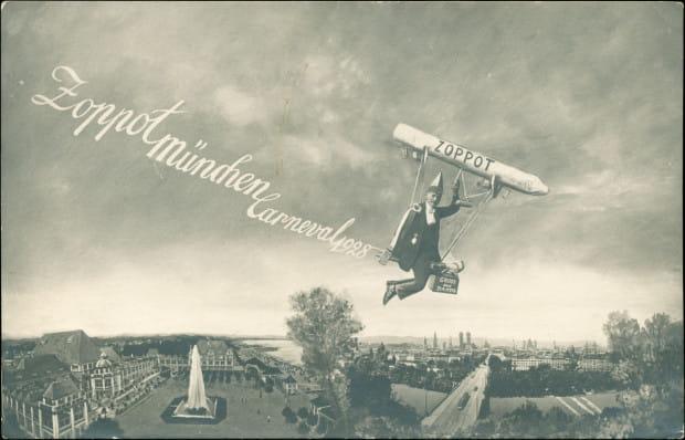 Bardzo ciekawy przykład pocztówki wyprodukowanej w Monachium, reklamującej Sopocki Karnawał w 1928 r.