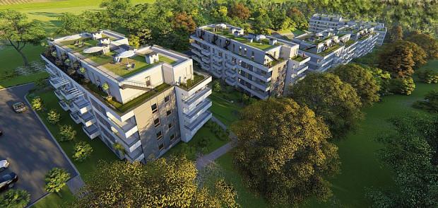 Osiedle Foresta. Na dachach budynków powstaną przynależne do mieszkań na najwyższych piętrach trasy.