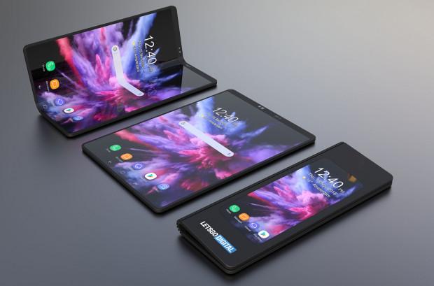 Samsung Galaxy Fold. Ekran 4,6-calowy można rozłożyć do aż 7,3-cali o rozdzielczości 1536 x 2152 pikseli. W trybie smartfona urządzenie posiada jednak zajmującą sporą powierzchnię wyświetlacza ramkę.
