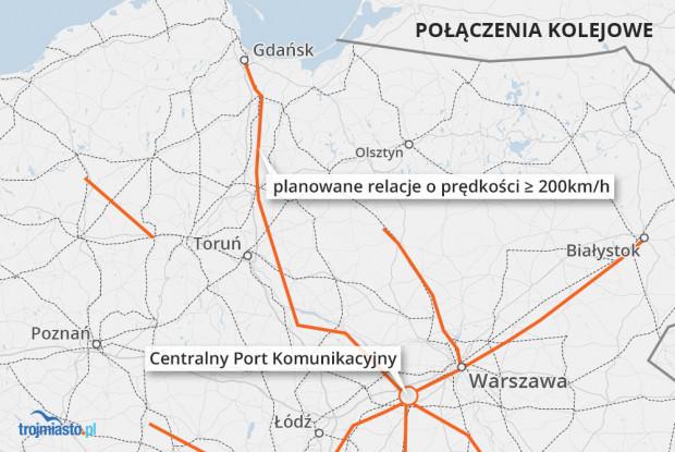 Planowane nowe połączenie kolejowe z Trójmiasta na lotnisko w Baranowie pod Warszawą oraz inne linie kolejowe, które muszą powstać do obsługi CPK.
