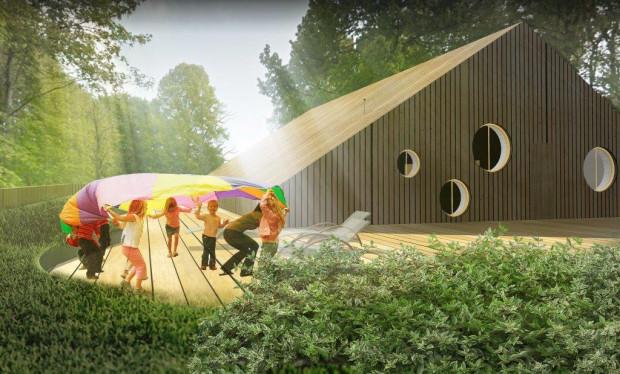 Obiekt jest dwukondygnacyjny, na parterze znajdować się będą pomieszczenia bezpośredniego pobytu dzieci oraz pomieszczenia kuchenne i do bezpośredniej obsługi maluchów, zaś na kondygnacji +1 pomieszczenia biurowe i sala wielofunkcyjna.