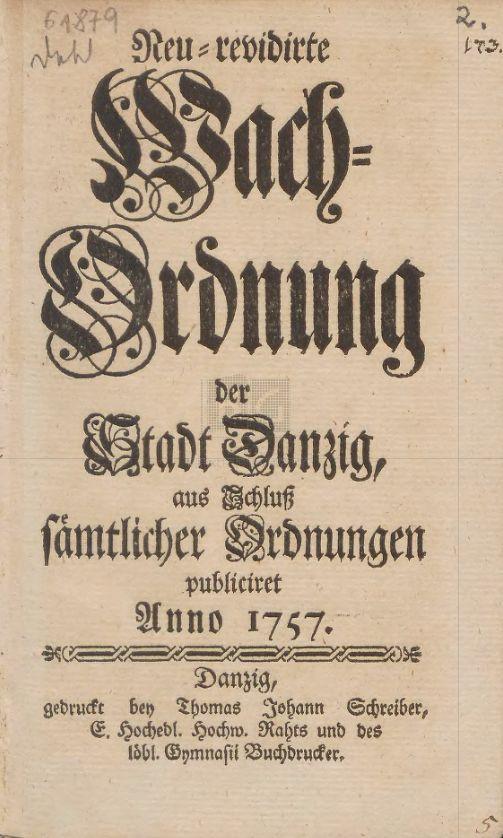 Strony tytułowa regulaminu służby wartowniczej Gdańska z 1757 r.