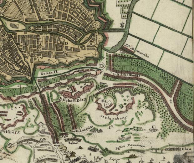 Osiemnastowieczne przedmieścia Gdańska od strony południowej. Biskupia Górka (Bischofdberg), Chełm (Stolzenberg), Stare Szkoty (Schottlandt) i fragment Oruni (Ohra) na mapie z 1736 r.