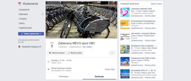 W związku z dużą liczbą rowerów przed kompleksem biurowym w Oliwie na Facebooku powstało wydarzenie, które miało na celu zabranie rowerów sprzed Olivia Business Centre.