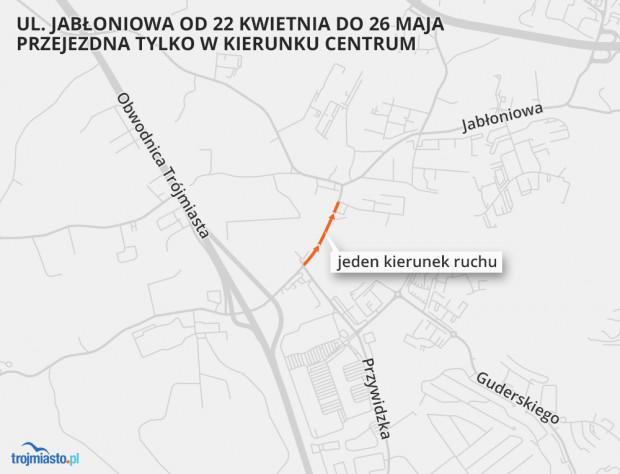 """W dniach 22 kwietnia-26 maja, ruch na Jabłoniowej między Przywidzką a Oliwkową będzie odbywał się """"pod górę"""", czyli w kierunku centrum Gdańska."""