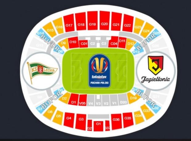 Od poniedziałku do nabycia będą bilety na miejsca zaznaczone na schemacie trybun Stadionu Narodowego herbem KS Lechia.