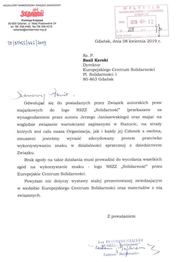 Pismo do Basila Kerskiego, w którym NSZZ Solidarność zakazuje ECS-owi wykorzystywania jego logotypu.