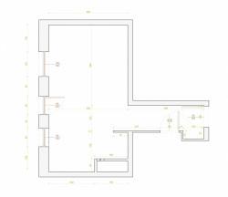 Rzut i wymiary projektowanego pomieszczenia.