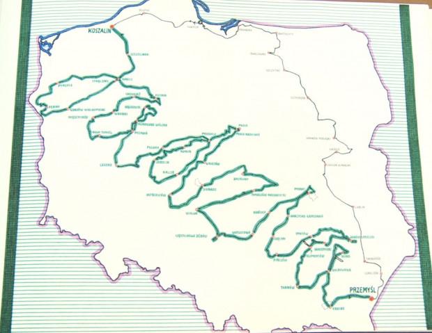 Trasa podróży Mieczysława Parczyńskiego z Koszalina do Przemyśla.