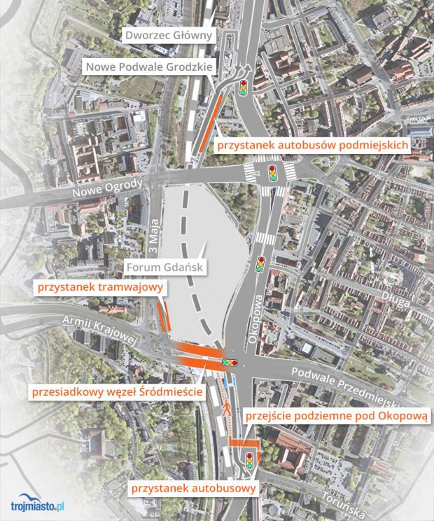 Układ drogowy powstały przy okazji budowy Forum Gdańsk