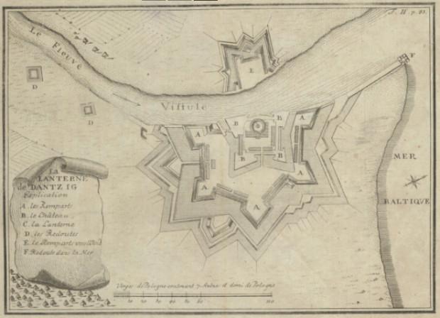 Plan twierdzy Wisłoujście z 1774 roku.