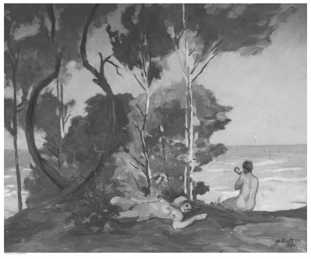 """Obraz olejny artysty Andrzeja Olesia """"Z nad Bałtyku"""", namalowany w 1934 roku. Wystawiany w Pałacu Sztuki w Krakowie w 1935 roku."""