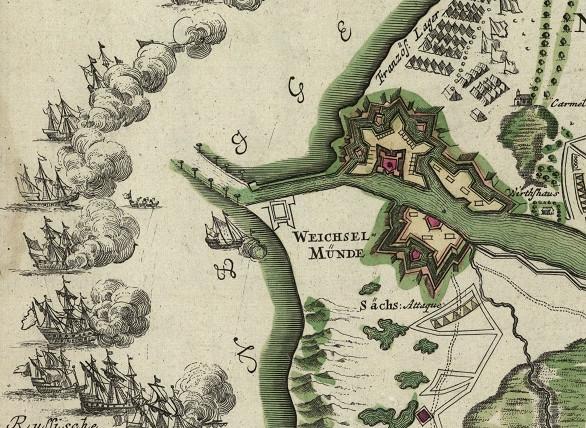 Oblężenie Gdańska w 1734 r. Fragment mapy z epoki. Ilustracja z domeny publicznej.