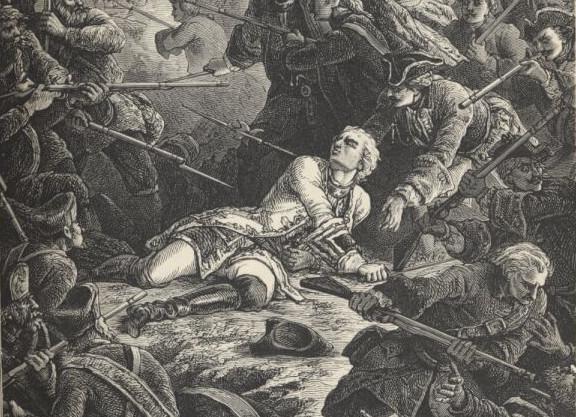 Rycina przedstawiająca śmierć hrabiego de Plélo w bitwie 27 maja 1734 roku pod Wisłoujściem. Ilustracja z domeny publicznej.