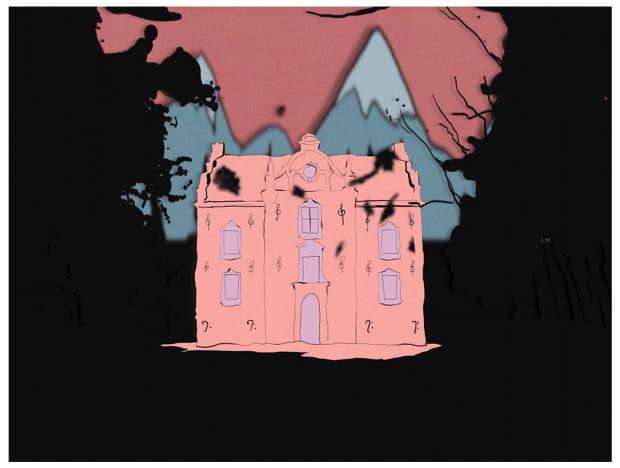 """Animowana posiadłość Fanki Haliny (Magdalena Cielecka) - jedna z prac Marty Kacprzak, która znalazła się w """"Trofeach""""."""