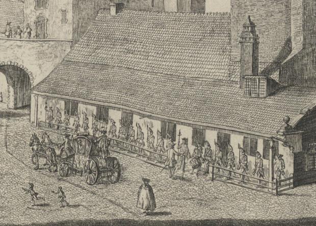 Główny odwach przy Zespole Przedbramia. Rysunek Mathaeusa Deischa.