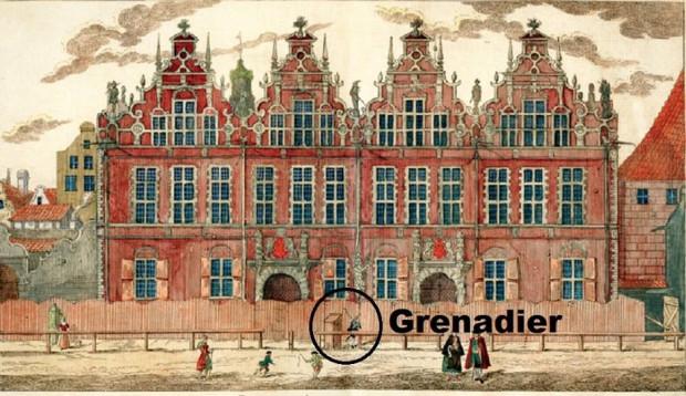 Grenadier gdański stojący przed Wielką Zbrojownią. Rysunek Matthaeusa Deischa.