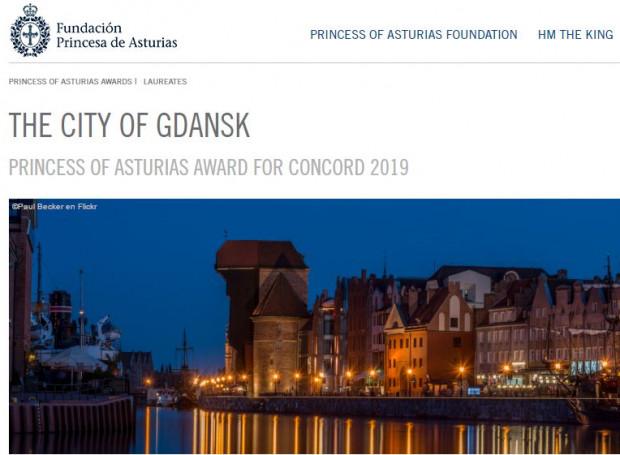 Informacja na stronie fundacji księżnej Asturii o zdobytej nagrodzie przez Gdańsk.