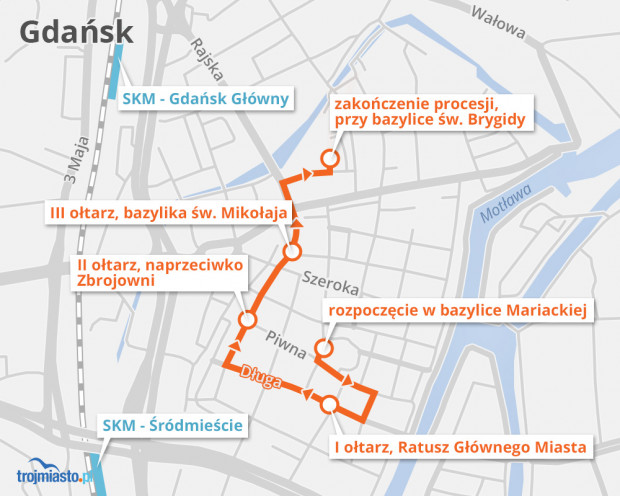 Trasa procesji centralnej w Gdańsku. Rozpoczyna się od godz. 10 w bazylice Mariackiej.