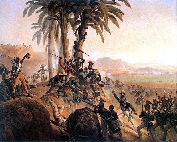 Bitwa na San Domingo z udziałem polskich żołnierzy. Obraz Januarego Suchodolskiego.