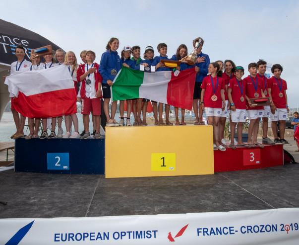 Medaliści drużynowych mistrzostw Europy 2019 w klasie Optimist.