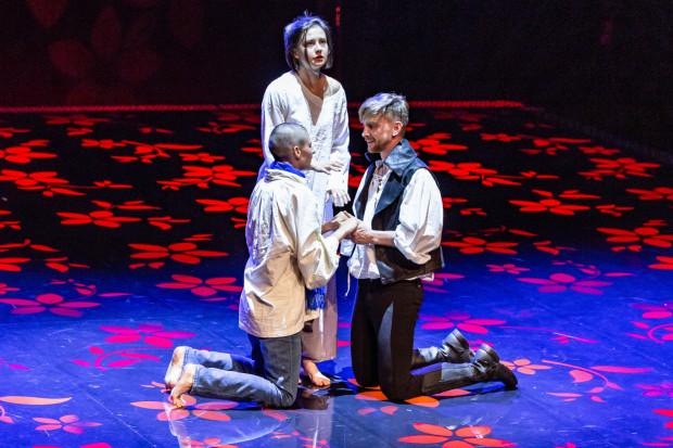 Wątek miłosny między Rozalindą a Orlandem został przez Szekspira dodatkowo skomplikowany, bo dziewczyna gra chłopca, który ją udaje, dzięki czemu udaje się wydobyć komizm sytuacyjny, z czym reżyserka nierzadko w tym spektaklu miewa jednak problemy.