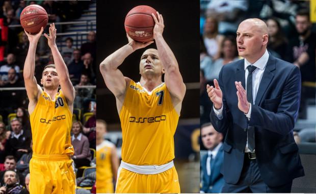 Krzysztof Szubarga (w środku) i Przemysław Frasunkiewicz (z prawej) podpisali nowe kontrakty z Arką Gdynia. Jakub Garbacz (z lewej) od nowego sezonu będzie grał w Agred BMSlam Stali Ostrów Wlkp.