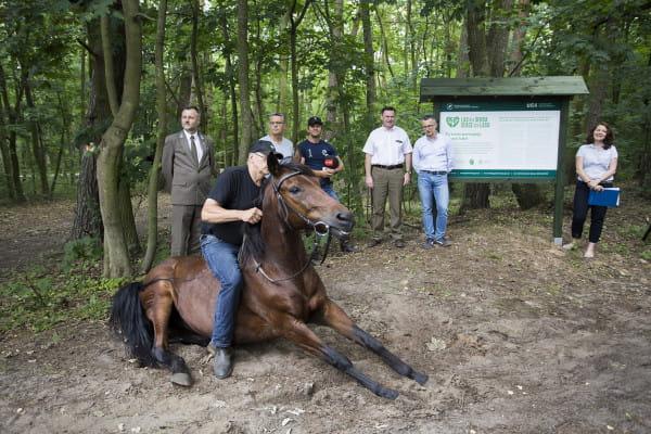 Podczas spotkania kończącego pilotaż, w którym wzięli udział m.in. przedstawiciele RDLP i UCK, Jerzy Ożga zademonstrował, jak uległe potrafią być konie i opowiedział o swoich sukcesach hipoterapeutycznych.